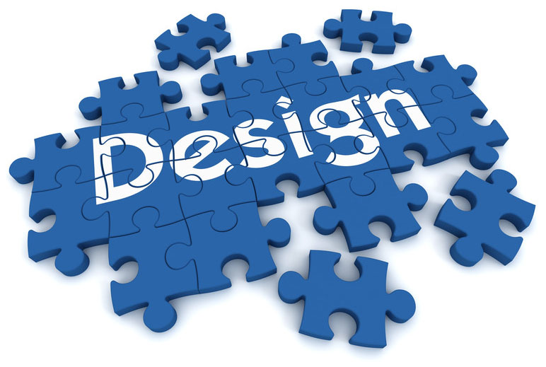 A blue puzzle with pieces that say Design - Business Protection Specialists