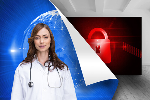 Woman in doctors coat with a blue world and red padlock image - Business Protection Specialists