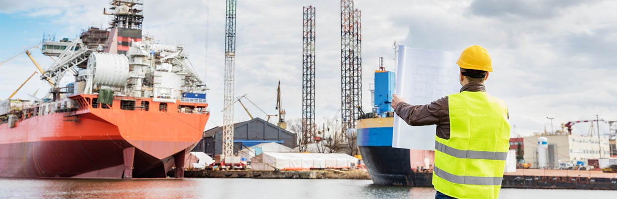 Dock worker with large ships in the background- Business Protection Specialists